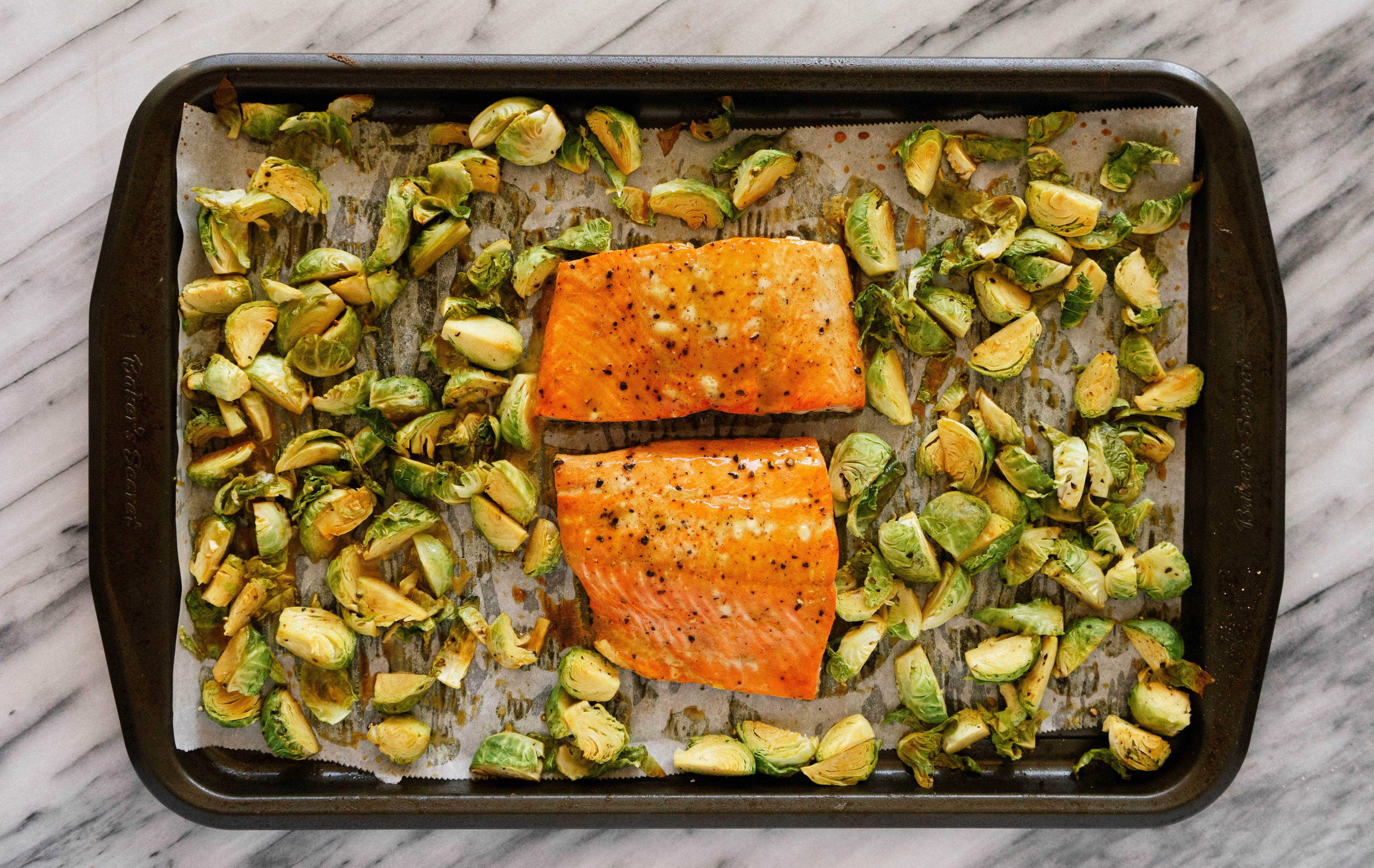 Sheet Pan Maple Dijon Salmon and Brussels Sprouts