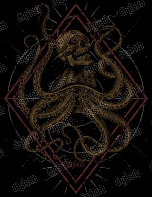 THE OCTOPUSKULL - Aighard Merchandise Webshop | Engraving Octopus Skull Geometric Shapes