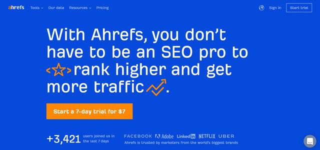Ahrefs Homepage - Hotcopy