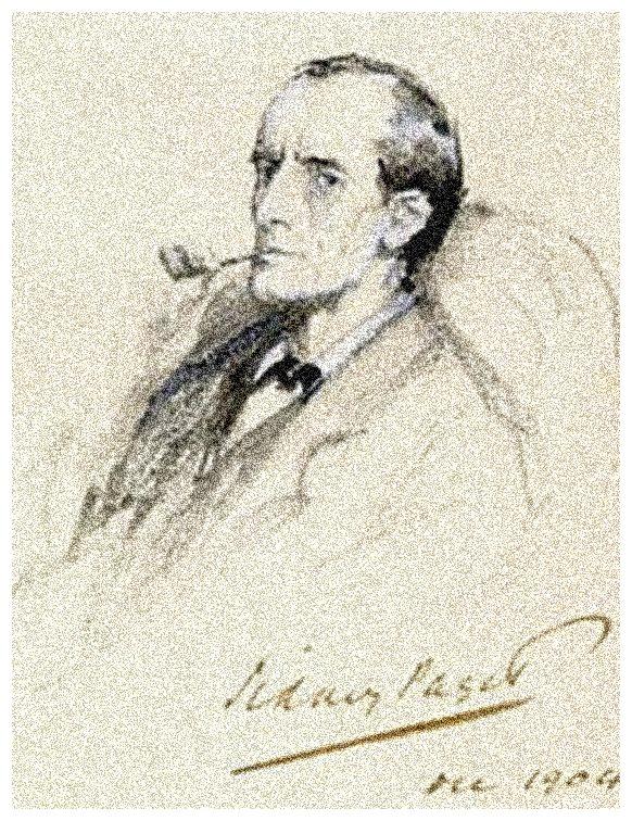 Retrato de Sherlock Holmes por Sidney Paget