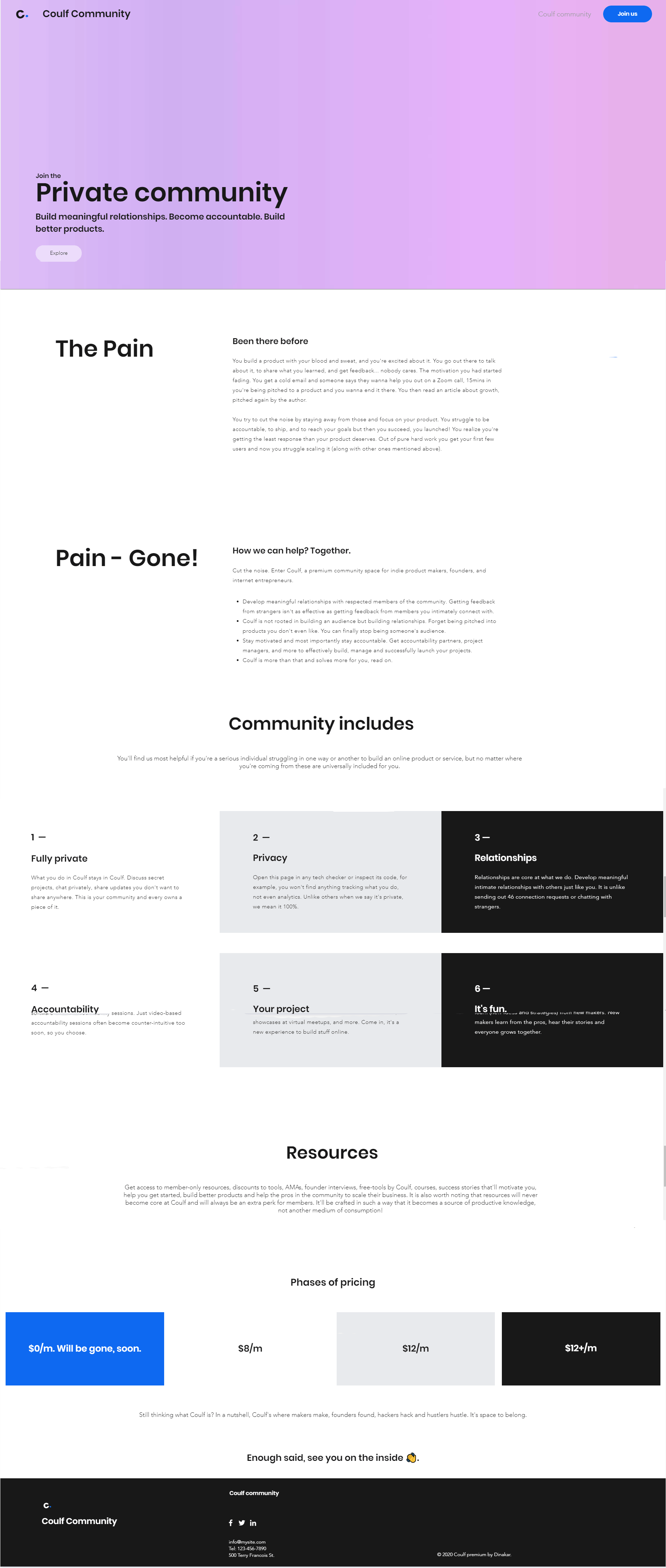 Coulf private community launch landing page