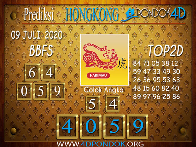 Prediksi Togel HONGKONG PONDOK4D 09 JULI 2020