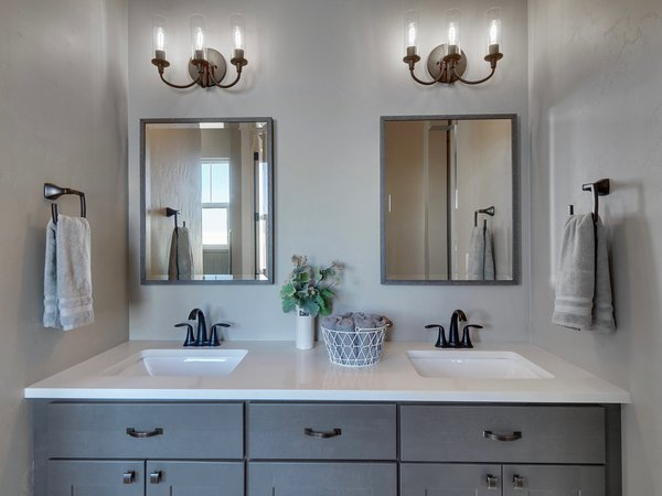 stylish grey and white bathroom sink