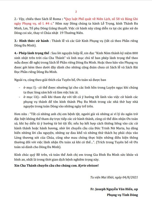 Ơn Toàn xá khi cử hành Đại lễ Thánh Đa Minh