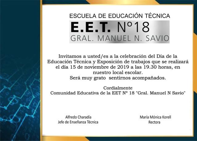 15 de noviembre Día de la Educación Técnica