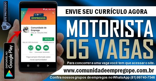 MOTORISTA DE CAMINHÃO, 05 VAGAS PARA EMPRESA EM JABOATÃO DOS GUARARAPES
