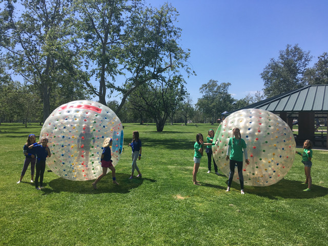 Group Photo of our client's group in Orang County who utilized our Human Hamster Ball Rental.