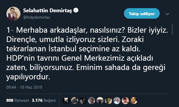 Selahattin Demirtaş tweet