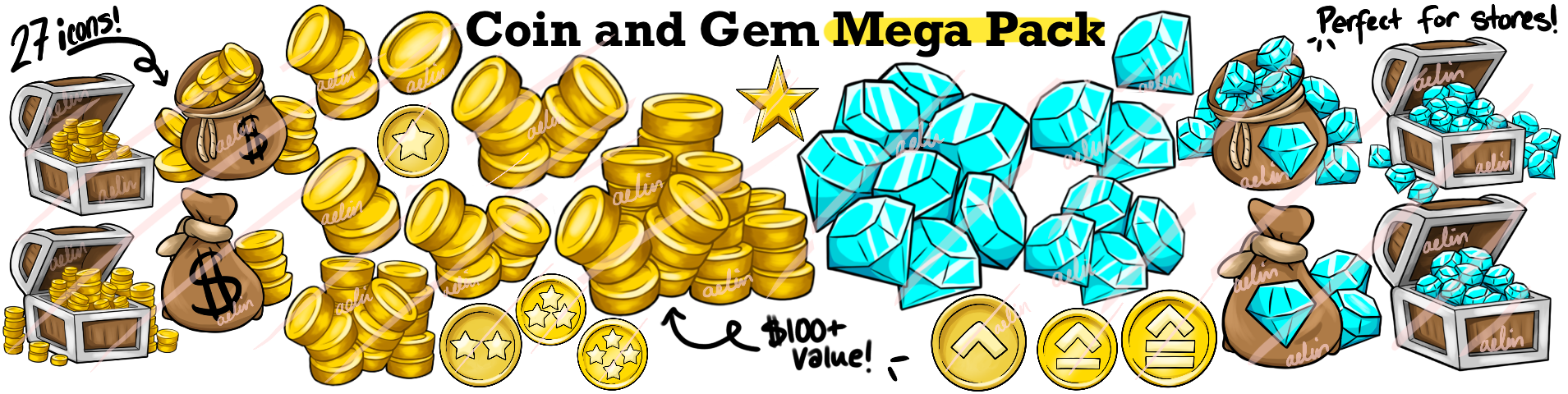 Coin and gem game icons minecraft server icons buycraft icons