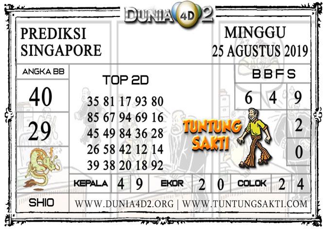 """Prediksi Togel """"SINGAPORE"""" DUNIA4D2 25 AGUSTUS 2019"""