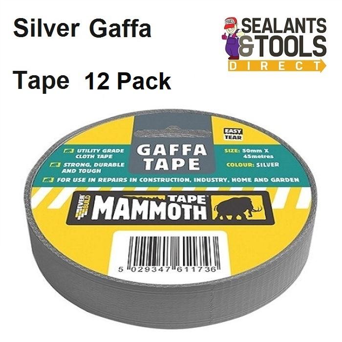 Everbuild Mammoth Gaffa Tape Silver 50mm 2VGAFFSV45 Box of 12