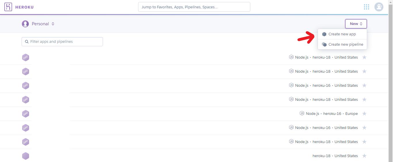 Create Application from Heroku Dashboard