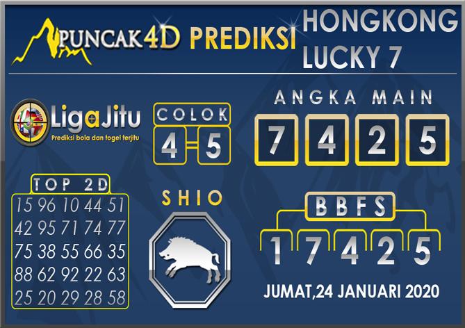 PREDIKSI TOGEL HONGKONG LUCKY7 PUNCAK4D 24 JANUARI 2020