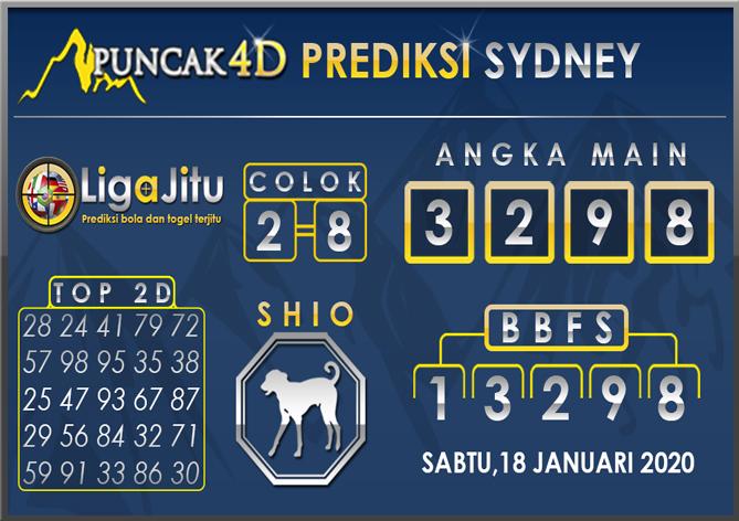 PREDIKSI TOGEL SYDNEY PUNCAK4D 18 JANUARI 2020