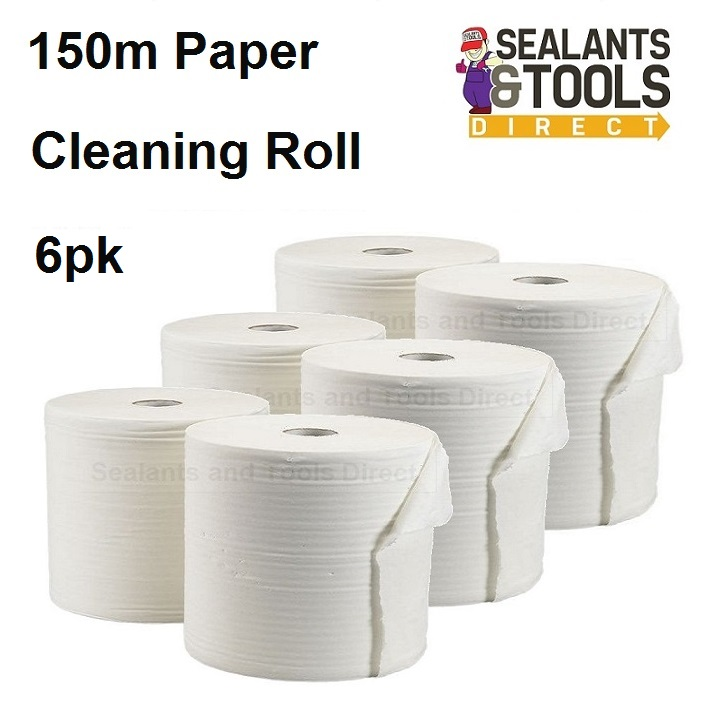 Everbuild Glass Plastic Paper Cleaning Wipes Roll Pack of 6