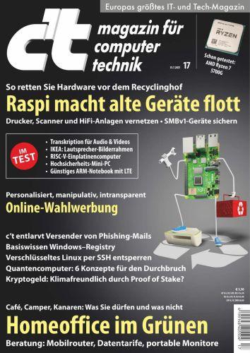 Cover: ct Magazin für Computertechnik No 17 vom 30  Juli 2021