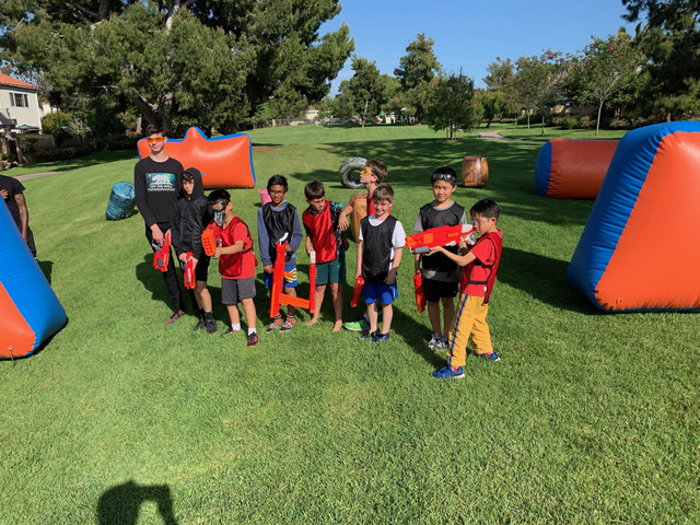 Group Photo of kids who were invited to a Mega Nerf Party in Irvine