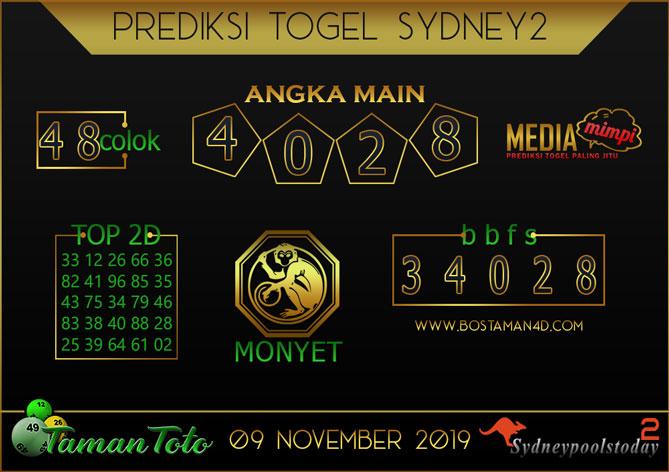 Prediksi Togel SYDNEY 2 TAMAN TOTO 09 NOVEMBER 2019