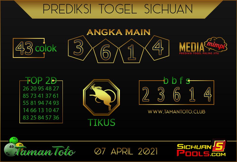 Prediksi Togel SICHUAN TAMAN TOTO 07 APRIL 2021
