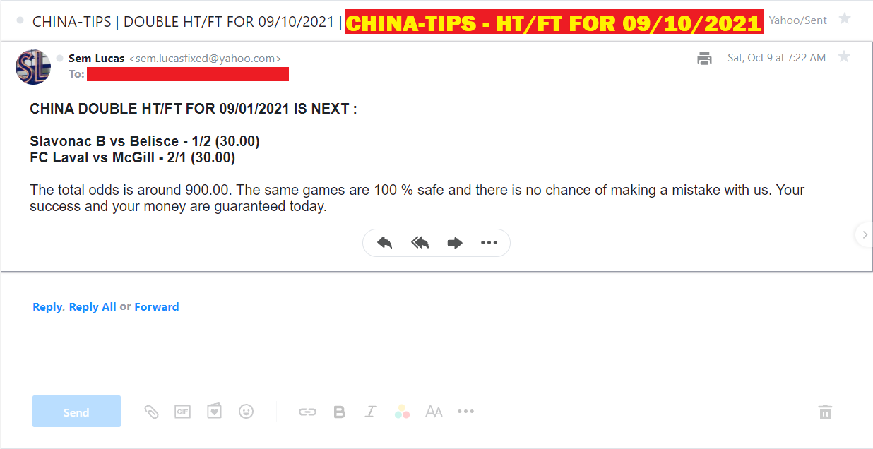 CHINA DOUBLE HT-FT FIXED MATCHES FOR 09/10/2021