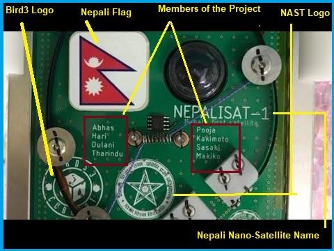 Nep-Sat 1 with NAST logo, Bird3 Logo, developer logo and nepali flag