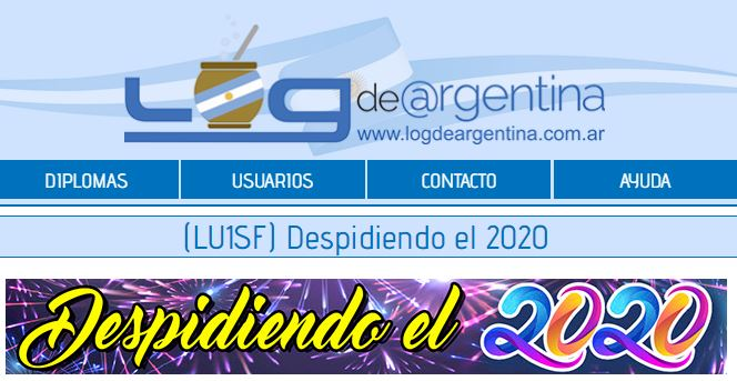 """2020 12 11 lu2wa Despidiendo el 2020 b - Certificado """"Despidiendo el 2020"""" y QSL Señal Distintiva Aniversario"""
