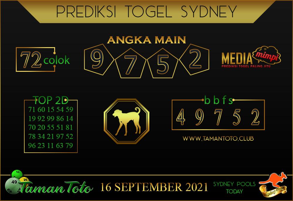 Prediksi Togel SYDNEY TAMAN TOTO 16 SEPTEMBER 2021