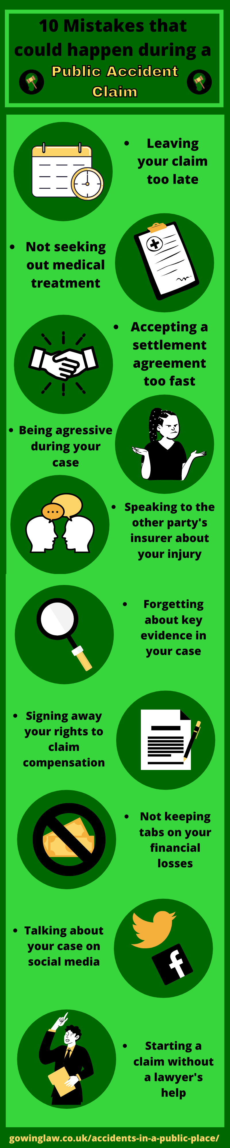 Infographic about mistakes that can happen in a court case