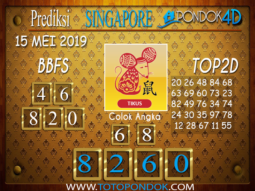 Prediksi Togel SINGAPORE PONDOK4D 15 MEI 2019