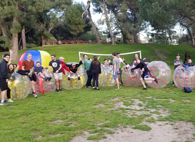 Group Photo of Clients who used our Bubble Soccer Rental in West Los Angeles.