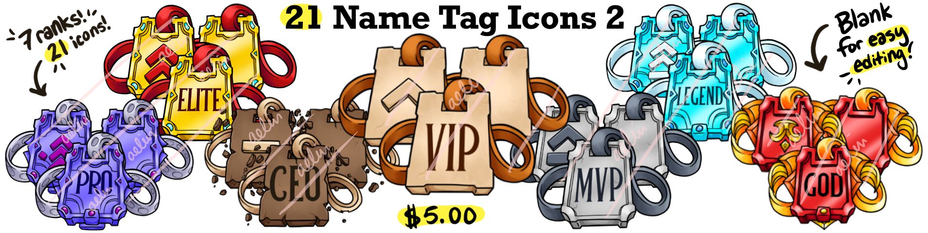 21 Name Tag Rank Buycraft Icons - Buycraft Rank Icons (Minecraft Rank Icons) Minecraft Icon Pack