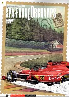 13 BELGIUM 2019 FERRARI F1 COVER ART RACE POSTER