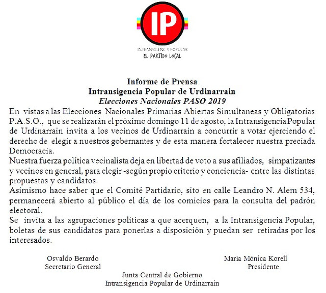 Elecciones 2019: Comunicado de prensa Intransigencia Popular