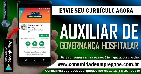 AUXILIAR DE GOVERNANÇA HOSPITALAR PARA ATUAR EM EMPRESA DE TERCEIRIZAÇÃO NO RECIFE