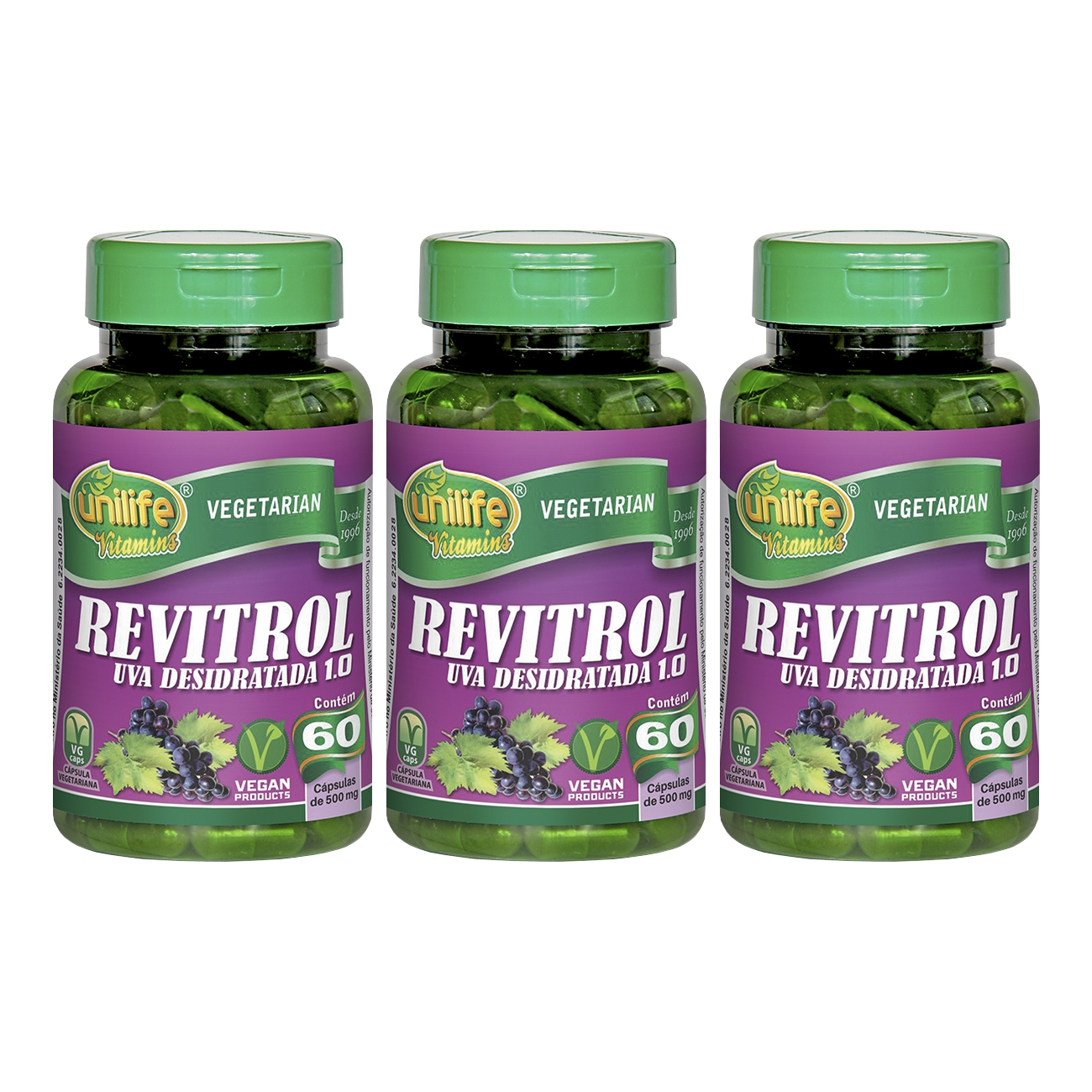 Revitrol Resveratrol Uva Desidratada 60 Cápsulas Unilife Kit 3 Unidades
