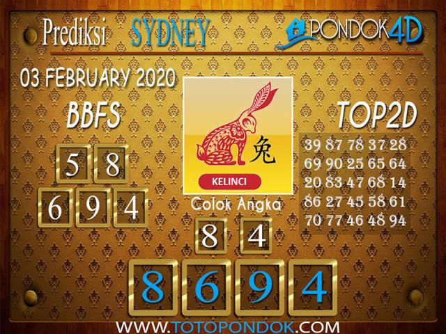 Prediksi Togel SYDNEY PONDOK4D 03 FEBRUARY 2020