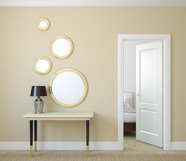 Modern-hallway-with-open-door-3d-render