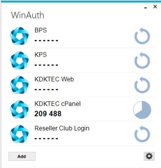 """""""WinAuth"""" 2 factor authenticator security code generator"""