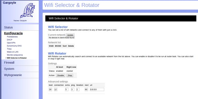 """WiFi Selector&Rotator plugin for Gargoyle firmware (thanks to Cezary Jackiewicz from http://dl.eko.one.pl for implementing it, an original idea of """"raphik"""" from http://foro.seguridadwireless.net/openwrt/wifi-selector-rotator)"""