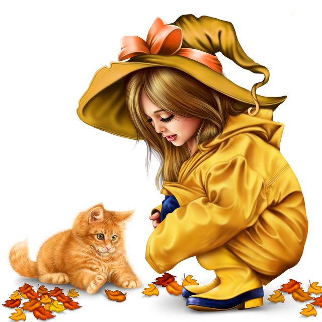 little girl in raincoat with a kitty png 41405a29a94562247.png