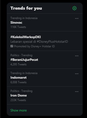 Iron Dome menduduki trending di media sosial Twitter.