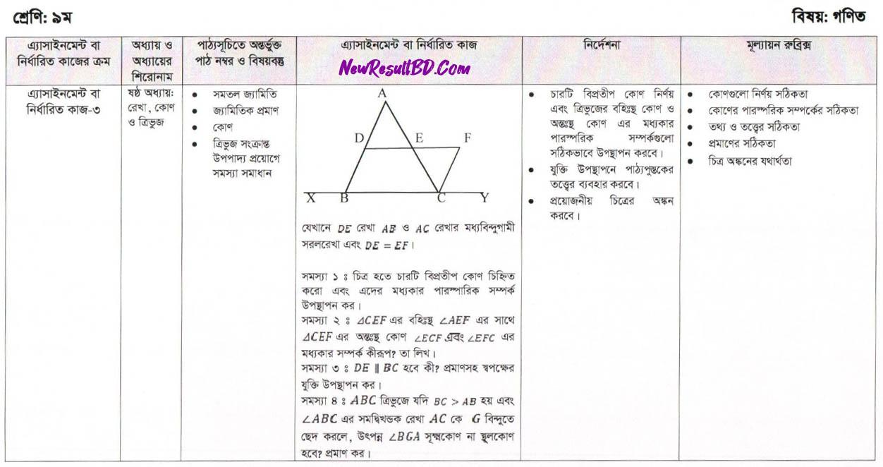 Math 11th week Assignment Question of Class 9