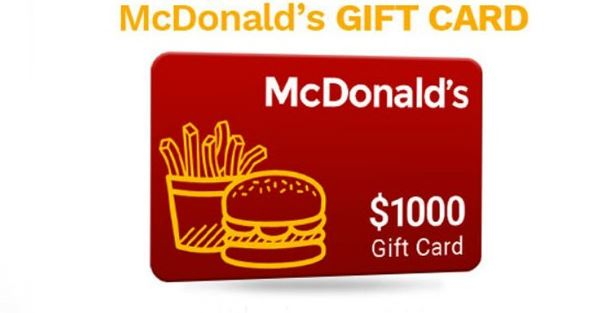This Is Why Win A $1,000 McDonalds Gift Card Is So Famous!