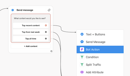 Connecting a message response with a Bot Action in Chatfuel