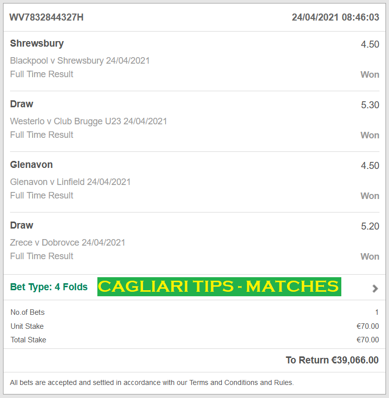Official Proof For CAGLIARI VIP TICKET | 4 COMBINED FIXED MATCHES