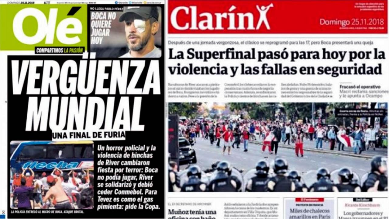 Las portadas de diarios de Argentina y del mundo tras la suspensión del Boca vs. River
