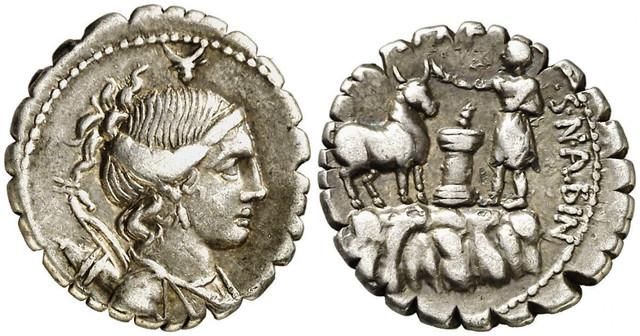 Denario Gens Postumia. A. POST. A. F - S. N. ALBIN. Sacrificador  en montaña, toro y ara. Roma. 25i6ueo-1
