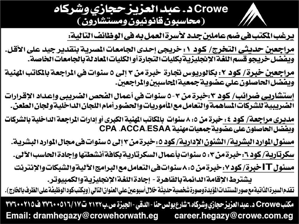 وظائف اهرام الجمعة, وظائف الاهرام اليوم الجمعة 5 ابريل 2019 في جميع المؤهلات والتخصصات بمختلف محافظات مصر