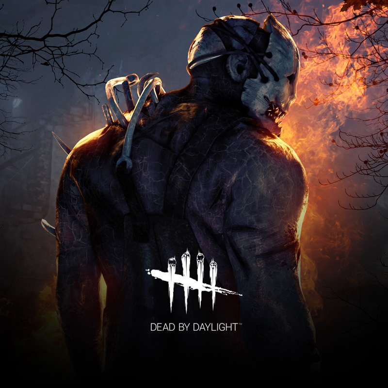 Dead By Daylight poster art depicting a menacing masked killer and Dead By Daylight logo.