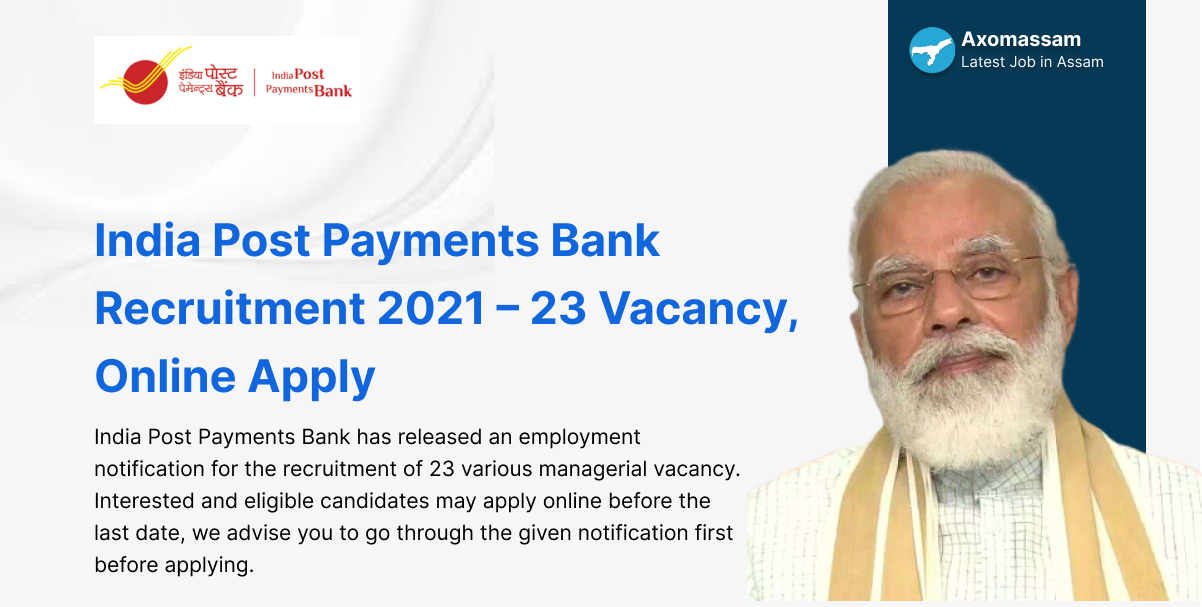 India Post Payments Bank Recruitment 2021 – 23 Vacancy
